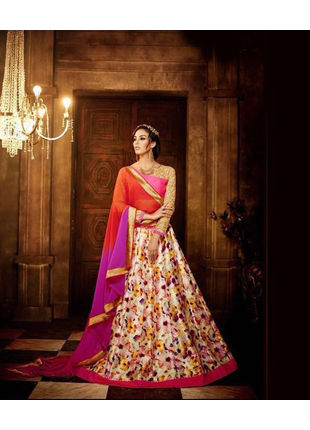 Multicolored Banglori Silk Designer Printed Semi Stitched Lehengas with Designer Blouse Piece