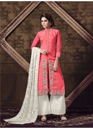 Peach Embroidered Georgette Semi Stiched Straight Cut Suit