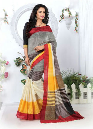 Multicolored Formal Bhagalpuri Silk Saree with Blouse