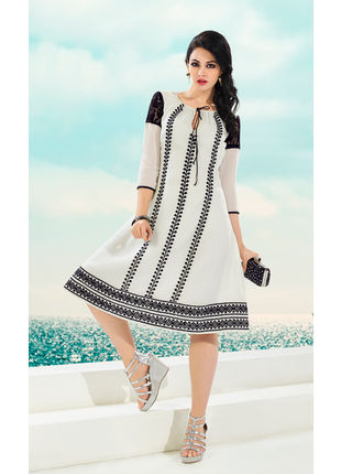 Off White Georgette Designer Fashionable Kurti (Size: L and XL)