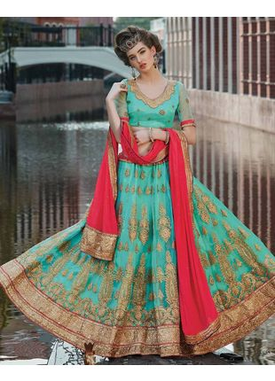 Sea Green and Red Festive Net Embroidered Lehenga with Designer Blouse Piece and Chiffon Dupatta