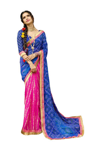 Blue and Pink Chiffon Bandhani Printed Saree