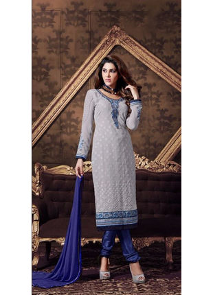Light Blue Embroidered Georgette Semi Stiched Straight Cut Suit
