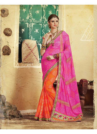 Pink and Orange Bandhani Printed Georgette Saree