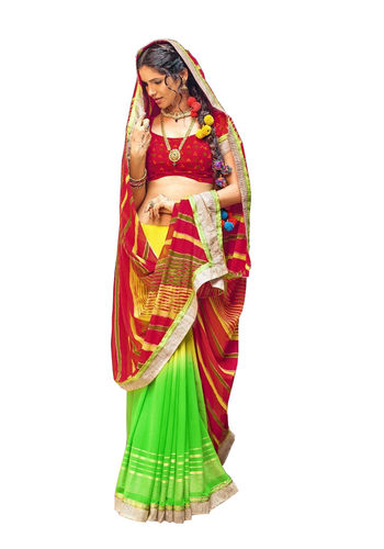 Maroon and Green Chiffon Bandhani Printed Saree