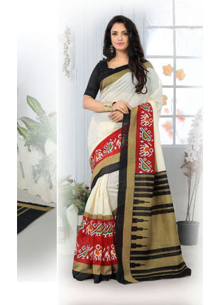 Cream and Red Formal Bhagalpuri Silk Saree with Blouse