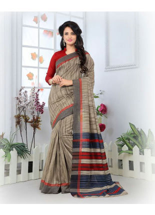 Grey Formal Bhagalpuri Silk Saree with Blouse