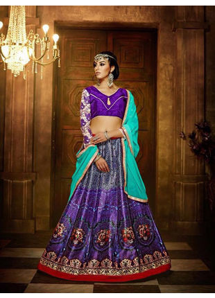 Purple Banglori Silk Designer Printed Semi Stitched Lehengas with Designer Blouse Piece