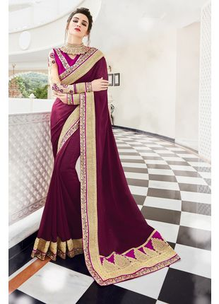 Magenta Georgette Heavy Embroidered Designer Wedding Saree