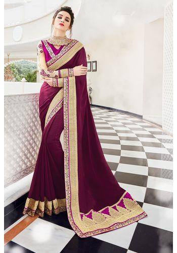 Magenta Georgette Heavy Embroidered Designer Wedding Saree