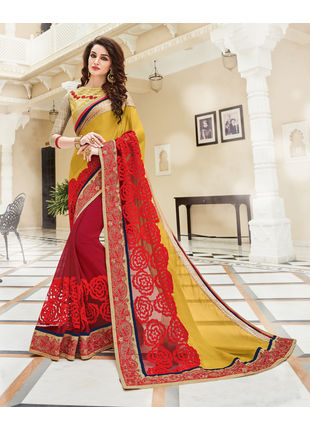 Yellow and Red Georgette Heavy Embroidered Designer Wedding Saree