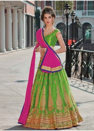 Green and Pink Festive Net Embroidered Lehenga with Designer Blouse Piece and Chiffon Dupatta