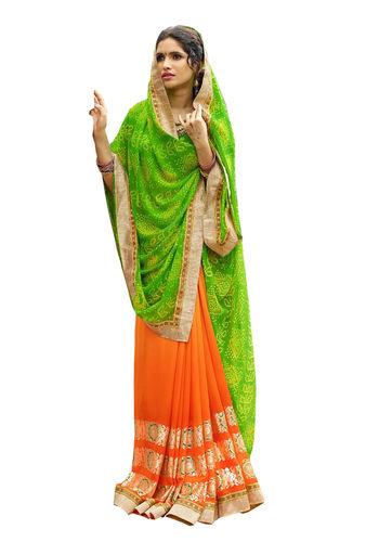 Green and Orange Chiffon Bandhani Printed Saree