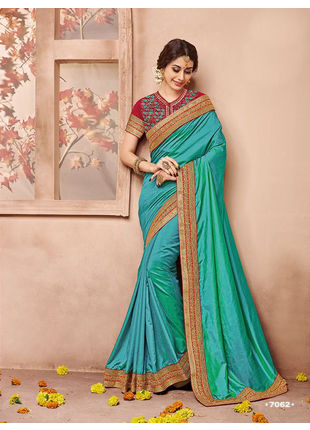 Light Blue Designer Wedding Silk Saree