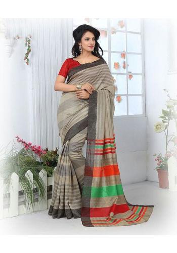 Grey Formal Bhagalpuri Silk Saree with Blouse