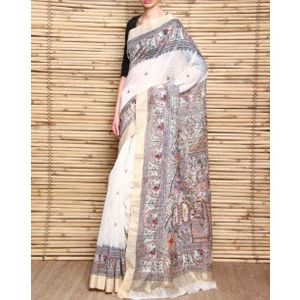 Handloom Chanderi Silk Saree with Madhubani Ramayan Painting