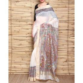 Handloom Chanderi Silk Saree with Madhubani Kohbar Painting