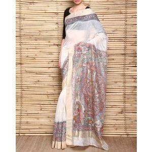 Handloom Chanderi Silk Saree with Madhubani Kohbar Painting