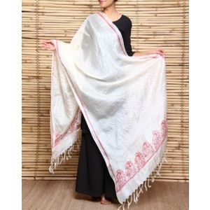 Handloom Tussar Silk Dupatta with Madhubani Naina Jogan Painting with Red Border