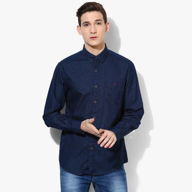 Wills Lifestyle Printed Slim Fit Casual Shirt, 39,  navy blue