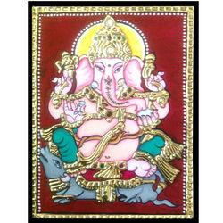Vinayagar (Tanjore Painting), 12 inch by 15 inch