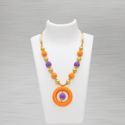 Silk Thread Necklace (Pendant Orange and blue)