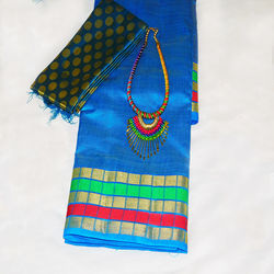 Saree - Silk cotton, Colour: multi colour checked border with peacock blue chain