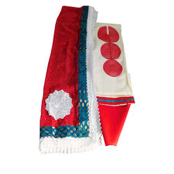 Chanderi silk, Bandhani dupatta with lace and patch work (Red colour cotton bottom)