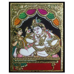 Thaaye Yashoda (Thanjavur painting), 7 inches by 7 inches