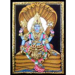 Mahavishnu (Tanjore Painting), 6 inches by 8 inches