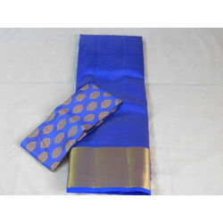 Saree - silk cotton, Colour: royal blue with blouse