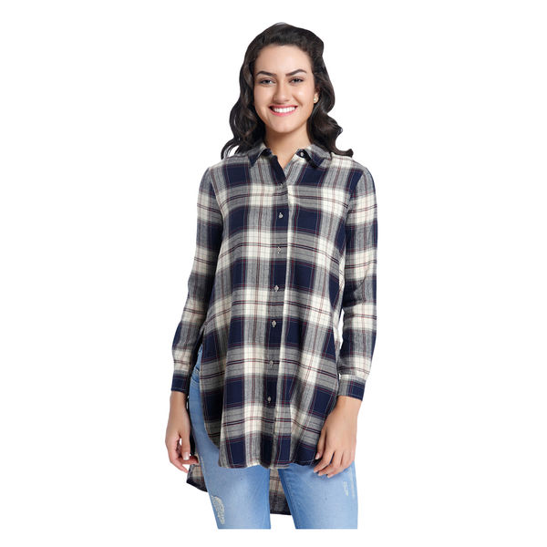 Only Checked Shirt,  navy blue, 40