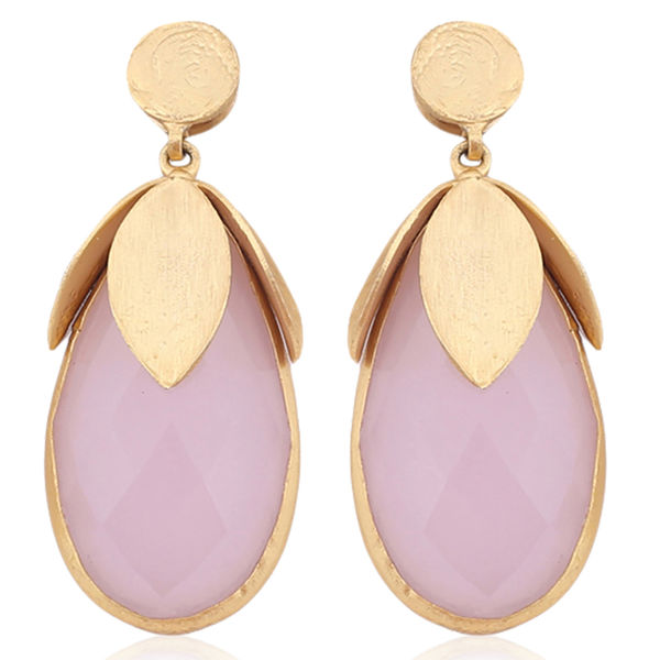 Nyaara Gold Rose Quartzs Stone And Brass Alloy Earings