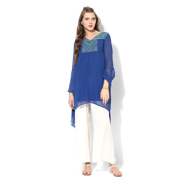 Global Desi Embroidered Polyester Tunic,  blue, xs
