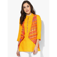 Biba Printed Viscose Blend Kurti With Lining, 38,  orange