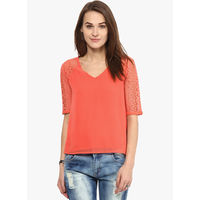Harpa Solid Blouse, l,  orange