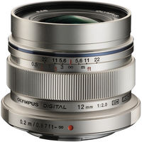 Olympus M. Zuiko 12mm f2.0 Lens, silver