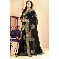 Black Weaved Cotton Saree