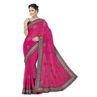 Beautiful Raani Pink and Green Embroidery Work Chiffon Saree