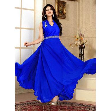 Blue Western Designer Gown