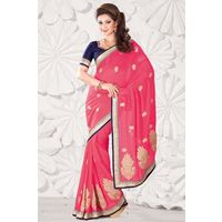 Peach Georgette Weaved Saree