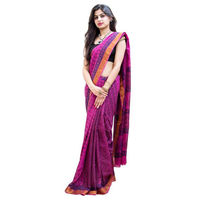 Fuchsia Coral Block Printed Cotton Saree