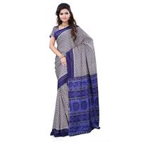 Cream & Navy Blue Crepe Printed Saree