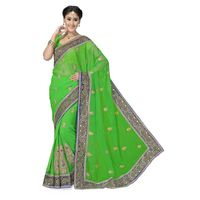 Classy Green and Violet Embroidery work Chiffon Saree