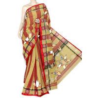 Fawn Red Bengali Tant Saree
