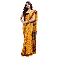 Mustard Buti Block Printed Cotton Saree