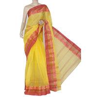 Yellow-Pink Bengali Tant Saree