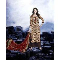 Designer Multicolor Embroidered Satin Suit