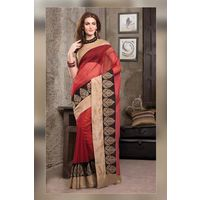 Red Plain Cot Silk Saree