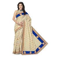 Beautiful Beije and Violet Designer Banarasi Saree